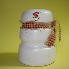 Hand Painted Snowman from Brown Porcelain Insulator Reclaimed Repurposed Art