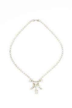 60's__Vintage__Rhinestone Tassel Necklace