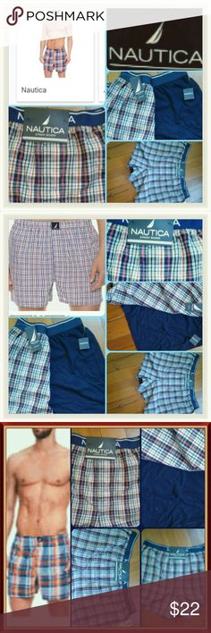 Nautica Men Underwear (2-Pairs For Price) - Men's Nautica underwear (2-Pack Boxer) Size XLg  Tag Reads- XLg(46-48)  and Lg 42-44 if you these are sizes- some men go between both when buying And fit-lg and XL no difference-  - Color- Plaid- Check/Stripe Multi-Color of red,Navy,white-  2nd Pair Color- Short Solid True Navy  Material- Label Read 100% Knit Boxer and 100%Cotton - Brand New/Final Sale NAUTICA Underwear & Socks Boxers