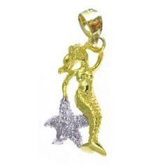 14k+Two-Tone+Gold+Mermaid+with+Starfish+Dazzlers+Pendant+180 #mermaid at generousgems.com