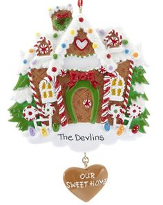 New Home Christmas Ornament Personalized Gingerbread House Ornaments