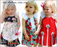 3 GIRLS DRESS PATTERNS in One, Mia peasant dress pattern, Sewing patterns for children, pdf, e book, tutorial, 5 berries, baby, toddler. $6.90, via Etsy.