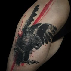 Trash-polka with realistic owl. Tattoo by Alex Oberov
