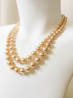 Vintage Two Strand Faux Pearls 50s / 60s Necklace  // vintage 1950s / 1960s Faux pearls