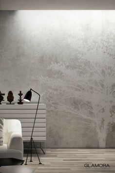 Tree | Natural Wallcovering & Carta da Parati | Spray collection by Glamora Tree Wall Murals, Interior Wallpaper, Metallic Wallpaper, Wall Finishes, Concrete Wall, Textured Walls, Scandinavian Design, House Colors, House Design