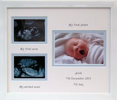 Double baby scan boy photo frame - white 16 x 12