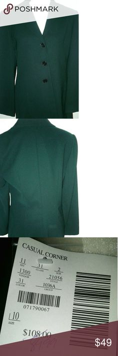 "NWT ! Casual Corner Green Button Blazer women's10 New with tag,Casual Corner women's Green Blazer jacket.Size 10. Longer length  style blazer. Lined. Perfect to wear with a skirt or pants . Three button jacket.Extra button packet included ! This was once a 2 piece but only selling tbe jacket as shown. Price will reflect only the jacket. Bust is about 40"". Shoulder to hem is about 29"". Sleeves are 25"".Measurements are approximate !  Happy to bundle ! 10% off 2 items in my closet ! Smoke free…"