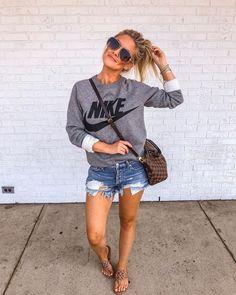 Nike Crewneck Sweater   Grey with Black   Jean Cutoff Denim Shorts   Louis Vuitton Cross body Bag   Nude Sandals 1950s Fashion, Denim Skirt, Women's Fashion Dresses, Skirts, Womens Fashion, Jean Skirt, Women's Fashion, Ladies Fashion, Denim Skirts