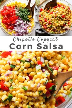 Easy and flavorful copycat Chipotle Corn Salsa recipe, made in just a few minutes with a handful of Canned Corn Recipes, Corn Salad Recipes, Corn Salads, Corn Salsa Salad Recipe, Simple Salsa Recipe, Recipes With Corn, Corn Salsa Dip, Frozen Corn Recipes, Recipes