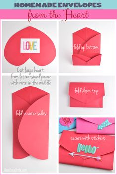 How to Make a Homemade Envelope with a Heart Shape - super easy - great craft idea for kids!