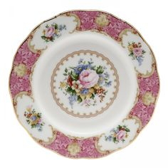 A classic example of the romantic, floral tradition of Royal Albert, the Lady Carlyle Collection draws inspiration from the extravagant rococo styles of the 18th Century. This salad plate is decorated