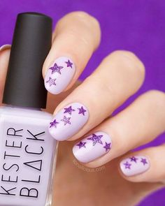 Looking for a quick way to upgrade your manicure? Then you'll enjoy this Star nails how to! It literally takes about 5 minutes to go from plain nails to a funky Star nail design. Star Nail Designs, Purple Nail Designs, Pretty Nail Designs, Purple Glitter Nails, Purple Nail Polish, Sparkle Nails, Pretty Nail Colors, Pretty Nails, Plain Nails