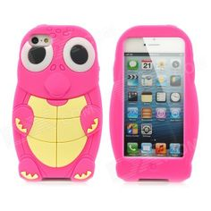 Cute Cartoon Turtle Style Protective Silicone Case for iPhone 5 - Deep Pink + Yellow