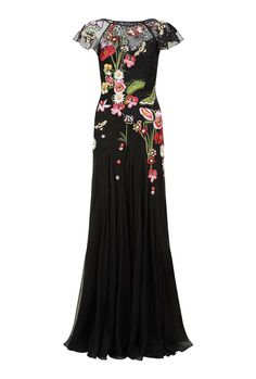 Aura embroidered floral black dress by Temperley London, fit for a formal event or ceremony. Formal Dresses For Weddings, Wedding Dresses, Formal Wedding, Party Dresses, Temperley London Dress, Beautiful Gowns, Girl Fashion, Clothes, Versace
