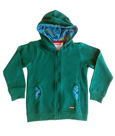 Dinosaur print hoody with zip in organic cotton for kids. Warm and fuzzy :)