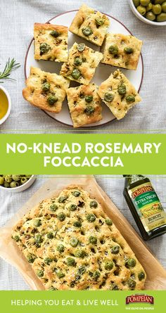Grab your olives and get ready to make Rosemary Focaccia! This no-knead snack can be prepped and in the oven in no time, thanks to a pour of Pompeian Organic EVOO in the dough! Brunch Recipes, Appetizer Recipes, Brunch Ideas, Soup Recipes, Appetizers, Rosemary Focaccia, Fast Easy Meals, Yummy Food, Tasty