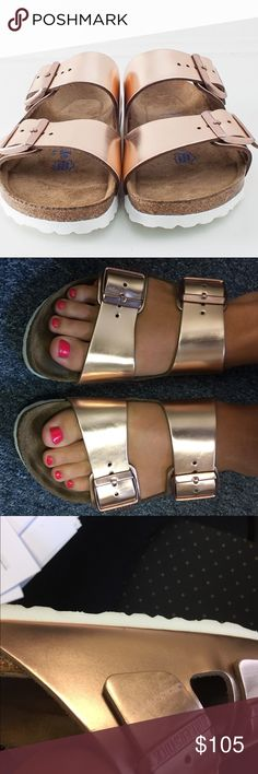 Rose Gold Copper Birkenstocks Gently used! Soft bed. Great condition. Bought for $120 about a month ago. Make an offer! Birkenstock Shoes Sandals