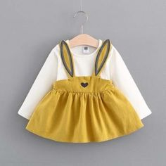 Cute Rabbit Faux-two Dress for Baby Girls