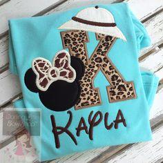 Animal Kingdom shirt, Miss Mouse Safari shirt or bodysuit for girls -- leopard and giraffe print fabrics with safari hat by DarlingLittleBowShop on Etsy https://www.etsy.com/listing/279692794/animal-kingdom-shirt-miss-mouse-safari