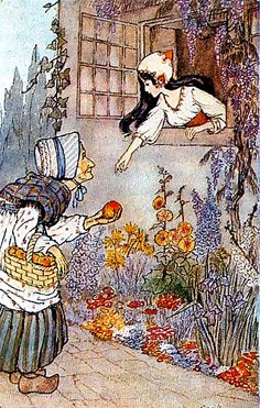 Hilda Miller Snow White postcard from the book Red Riding Hood's Favorite Fairy Tales by Dawn and Peter Cope