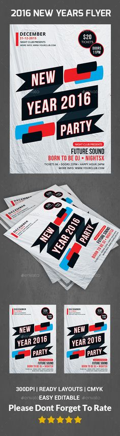 New Year Flyer Template PSD #design Download: http://graphicriver.net/item/new-year-flyer/13547122?ref=ksioks