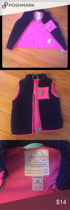 Adorbs fuzzy vest❤💕❤💕 Adorable lil gals fuzzy navy blue & pink vest. Perfect addition to any girls closet!! Great for layering as well as to add a pop of bright color! Gently used & in beautiful condition, with lotsa life left. One of my daughter's favs! Needs a new home! ❤❤❤ Carter's Jackets & Coats Vests