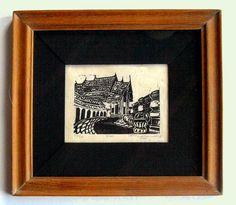Wat print in handmade Thai teak frame black and by LaganaDesign, $35.00
