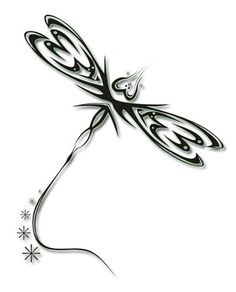 Tribal Dragonfly Tattoo Stencil