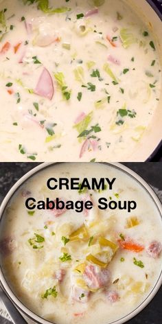Recipes Snacks Videos Creamy Cabbage Soup - Hearty and comforting! This delicious and easy soup recipe is loaded with tender cabbage, carrots, celery, ham and spices. Celery Recipes, Cabbage Soup Recipes, Easy Soup Recipes, Cooking Recipes, Healthy Recipes, Cream Of Cabbage Soup Recipe, Ham And Cabbage Soup, Cream Of Celery Soup, Vegetable Soup Recipes