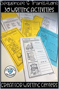Great sequence of events activities for upper elementary! Teach sequencing, transitional phrases, and narrative writing - all in one resource! Students are given the ability to switch up the sequence of events in the picture prompts, letting them be as creative as they want to be. This activity is great for whole class instruction, homework, early finishers, and writing centers. Click here to learn more! 6th Grade Activities, About Me Activities, Sequencing Activities, Language Activities, Writing Activities, Classroom Activities, Sensory Language, Summer Activities, Teaching Narrative Writing
