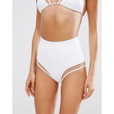 ASOS Mix and Match Mesh Insert High Waist Bikini Bottom ($25) ❤ liked on Polyvore featuring swimwear, bikinis, bikini bottoms, white, swimming bikini, high-waisted bikini, high rise bikini, white bikini and swim wear