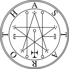 "Symbol: Astaroth's seal (according to The Lesser Key of Solomon). Depending in part on the translator, Astaroth, Ashtoreth and Asherah are variants of the name of the Semitic goddess of the planet Venus and of fertility. Her worship by the Israelites is widely mentioned in the Bible, as are her ""high places"" and ""groves"". Astaroth and Baal were the chief goddess and god of the Phoenicians, Moabites, Philistines, and Zidonians."