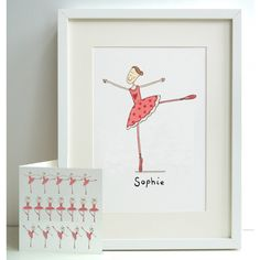 Unframed Personalised A4 Girl's Ballerina Print with coordinating card. (A) | wowthankyou.co.uk