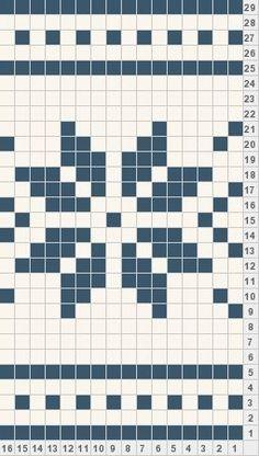 Snowflake crochet graph. Good for borders. Tapestry Crochet Patterns, Fair Isle Knitting Patterns, Fair Isle Pattern, Knitting Charts, Loom Patterns, Loom Knitting, Knitting Stitches, Knitting Designs, Cross Stitch Patterns
