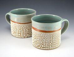2 Mugs - Crackle Glaze Robins Egg Blue - 16oz wide mouth
