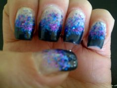 Deep blue tips with purple and blue sparkle