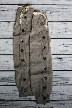 Leg Warmers Boot Cuff Socks Grey with Lace by SweetDesignsApparel