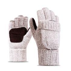 RITOPER Unisex Plus Thick Male Fingerless Gloves Men Wool Winter Warm Exposed Finger Mittens Knitted Warm Flip Half Finger Glove Gloves Size One Size Color dark gray