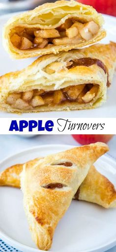 Apple Turnover Recipe - flaky puff pasty and homemade apple pie filling make for the perfect fall treat! Great for breakfast or dessert! Turnover Recipes, Apple Desserts, Dessert Recipes, Breakfast Recipes, Fruit Dessert, Make Ahead Breakfast, Recipes Dinner, Breakfast Ideas, Desert Recipes