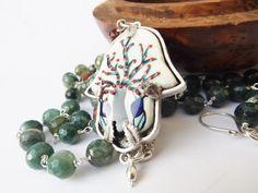 Hamsa pendant, Turkish tile pendant, tree of life necklace, green agate necklace, handpainted tile, ceramic pendant, boho style by graciedot on Etsy