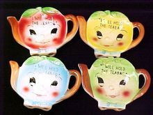 Tea Bag Holders Porcelain Cute Anthropomorphic Set of Four Japan Vintage from Raynetta's Romantiques Antique & Vintage on Ruby Lane