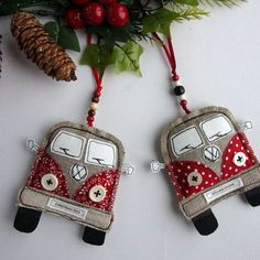 VW Van Christmas Decorations. Fabric Christmas Ornaments. Volkswagen Bus. Handmade Hippie Camper Van Ornaments. Personalized. Hippy Kombi