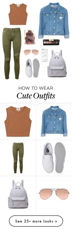 """""""School outfits"""" by fadeintofashion-1 on Polyvore featuring Current/Elliott, Samuji, Topshop, Vans, Ray-Ban and Yves Saint Laurent"""