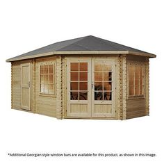 5m x 3m waltons right sided lodge plus corner log cabin