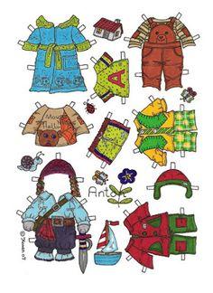 Karen`s Paper Dolls: Anton 1-2 Paper Doll in Colours. Anton 1-2 påklædningsdukke…