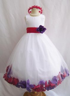 CUSTOM COLOR   Flower Girl Rose Petal Dress WHITE  Red Purple