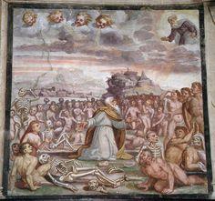 Giovan Battista Guarinoni - Visione de Ezechiele - affresco - 1577 circa - Cappella centrale - Chiesa San Michele al Pozzo bianco - Bergamo (Italia)