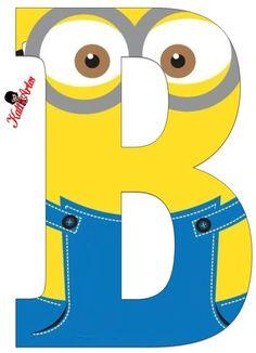 Typography - Minion Alphabet - Letter B Minion Birthday Banner, Minion Theme, Minion Party, Minion Font, Minion Classroom, Minion Craft, Birthday Themes For Boys, Despicable Me, Alphabet And Numbers