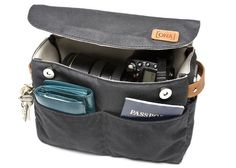 """Camera Insert/Bag Organizer by Ona: Perfect for your DSLR/ lens and 5 pockets for keeping your stuff organized. Made of waxwear. Measures  10.5""""L X 7""""H X 4""""D. $59. #Camera_Insert #Camera_Bag #Ona"""