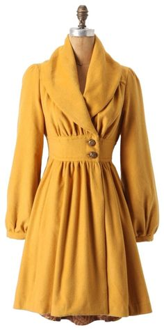 I already have a yellow coat, but this one is super cute too! Ruched Marigold Coat by Anthropologie Looks Style, Style Me, Yellow Coat, Yellow Dress, Retro Mode, Mode Chic, Looks Vintage, Vintage Style, Vintage Coat